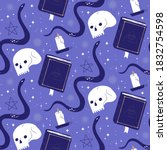 creepy occult cartoon seamless... | Shutterstock .eps vector #1832754598