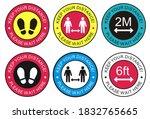 covid 19 floor sticker  of... | Shutterstock . vector #1832765665