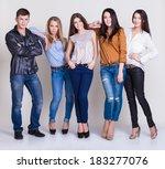 happy joyful group of friends | Shutterstock . vector #183277076