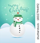 merry christmas greeting card... | Shutterstock .eps vector #1832794492