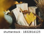 Autumn Leaves And Firewood In A ...
