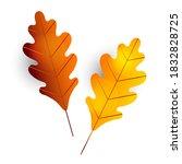 two autumn oak leaves. leaf... | Shutterstock .eps vector #1832828725