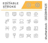 set line icons of action camera | Shutterstock .eps vector #1832849635