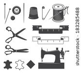 Set Of Sewing Designed Elements
