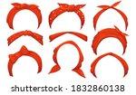 girlish hairbands set. red... | Shutterstock .eps vector #1832860138