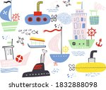 set of funny cute hand drawn... | Shutterstock .eps vector #1832888098