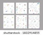 set of cute simple seamless... | Shutterstock .eps vector #1832914855