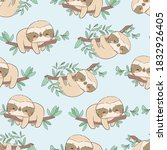cute fun sloths on a branch... | Shutterstock .eps vector #1832926405