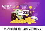 money online on mobile phone ... | Shutterstock .eps vector #1832948638