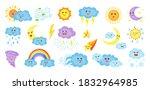 weather cartoon characters set. ... | Shutterstock .eps vector #1832964985