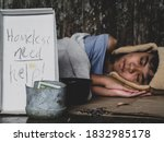 Hungry Child Lay Down On Street ...