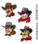 four cowboys in cartoon style... | Shutterstock .eps vector #183298712