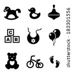 set of nine different black and ... | Shutterstock .eps vector #183301556