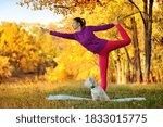 woman practicing yoga one leg... | Shutterstock . vector #1833015775