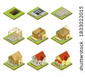 house construction site set.... | Shutterstock .eps vector #1833022015
