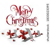 merry christmas text on white... | Shutterstock . vector #1833023395