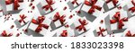 christmas gift boxes with red... | Shutterstock . vector #1833023398