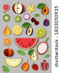 vector paper cut craft style... | Shutterstock .eps vector #1833050935