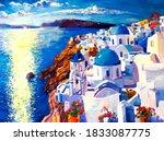 Oil Painting. Santorini...