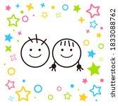 good friends girls and boys... | Shutterstock .eps vector #1833088762