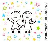 good friends girls and boys... | Shutterstock .eps vector #1833088768