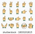 hand icons  such as fingers ... | Shutterstock .eps vector #1833101815