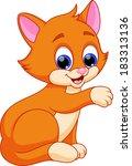 funny cat cartoon | Shutterstock .eps vector #183313136