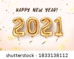 2021 golden decoration holiday... | Shutterstock .eps vector #1833138112