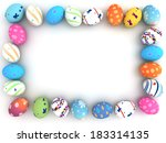 easter colorful eggs isolated... | Shutterstock . vector #183314135