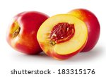 Ripe Juicy Nectarines Isolated...