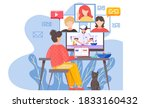 a girl sits in front of a... | Shutterstock .eps vector #1833160432