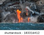 red hot lava flowing into...