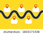 road with map pointers.... | Shutterstock .eps vector #1833171538