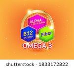 nutrition omega and vitamin... | Shutterstock .eps vector #1833172822
