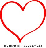red heart   outline drawing for ... | Shutterstock .eps vector #1833174265