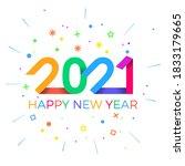 2021 happy new year. paper...   Shutterstock .eps vector #1833179665