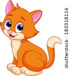 funny cat cartoon | Shutterstock . vector #183318116