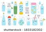 doodle drink more water. cute...   Shutterstock .eps vector #1833182302