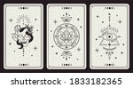 magic occult cards. vintage... | Shutterstock .eps vector #1833182365