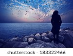 woman standing on the rocks... | Shutterstock . vector #183322466