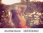beautiful witch in the woods... | Shutterstock . vector #183326462