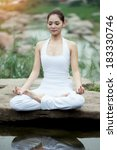 asia yoga instructor  in... | Shutterstock . vector #183330746
