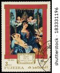 Small photo of FUJEIRA - CIRCA 1971: A stamp printed in Fujeira shows a painting by Albrecht Durer, circa 1971
