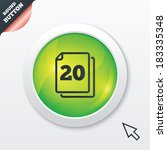 in pack 20 sheets sign icon. 20 ...