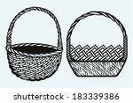 empty wicker basket | Shutterstock .eps vector #183339386