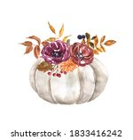 Fall White Pumpkin With Flowers ...