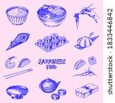 japanese food set. sushi bar ... | Shutterstock .eps vector #1833446842