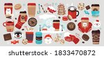 winter coffee to go set  coffee ... | Shutterstock .eps vector #1833470872