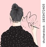heart shaped hand drawn girl... | Shutterstock .eps vector #1833472405