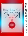 new year 2021 red and blue... | Shutterstock .eps vector #1833472552